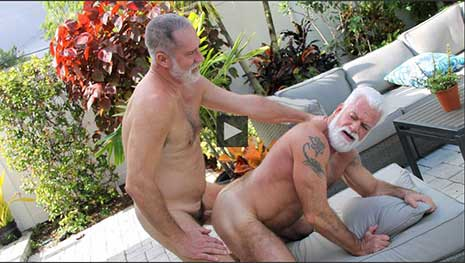 Silver Daddies Jake Marshall and Rick Long have a sweaty outdoor fuck as they flip fuck outside by the pool. These two daddies are rock hard for each other's hot cocks and sweaty daddy holes.