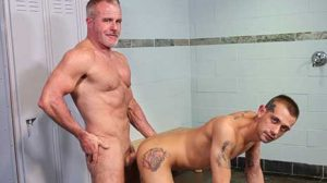 While taking a shower Casio King is getting admired by Dale Savage, who is jerking off. Casio notices Dale, and walks over to him, Dale removes his shorts and now they are both jerking off.
