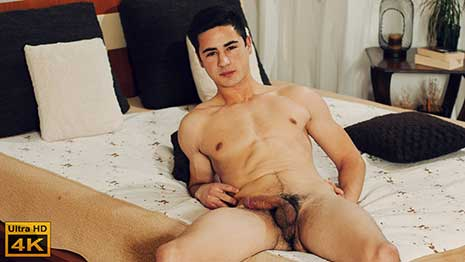 Mirek Sakala is aged 20 and he lives in Ostrava, but is originally from Ukraine. He is a student you enjoys sports, athletics and soccer. He looks good as he sits on the bed for his interview.