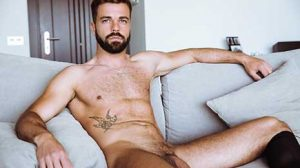 The perfect package - that is how handsome masculine dark-skinned Spaniard Hector De Silva can be described. With a sexy beard, piercing blue eyes...