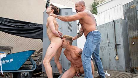 Fellow home improvement customer Jack Dyer spots Taylor Reign wandering around by himself and follows the unsuspecting hunk to his car where Jack makes his move and takes Taylor.