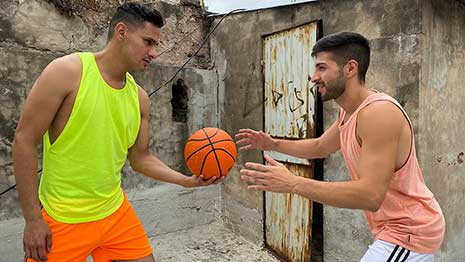 Cute hunks Faisul and Liam are playing basketball when the camera guy approaches them with an offer they won't be able to refuse.
