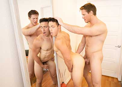 Jax and Kyle don't spare a moment for conversation - these two hunks are so horny they get right to undressing each other! Jax is fascinated with Kyle's big, bouncy booty...