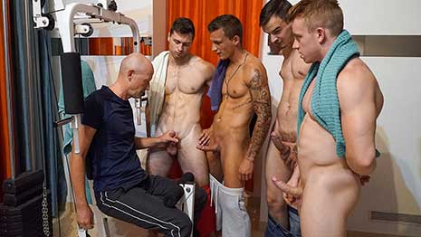 When you get four young guys together with a member named Walter it's likely to get dirty. All these fellows are back sucking and fucking in the gym while we are putting it on video for you to enjoy. Finally, Walter can't take it anymore and wants that these young guys will cum on his old face.