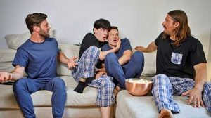 Edward Terrant and Brent North tell their respective stepdads Darenger and James Fox to come and watch a movie with them. The boys choose a documentary so Darenger and James instantly fall asleep...