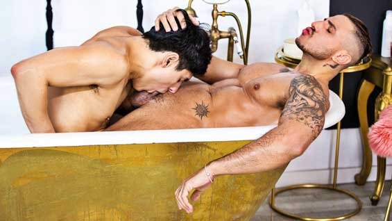Klein Kerr is preparing a nice romantic bubble bath for his lover, Ken Summers. Ken watches in a robe as Klein gets the water just right, and the guys make out before Klein lowers Ken into the...