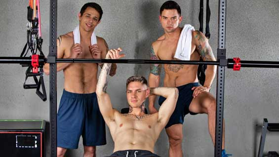 Dakota Payne, Kyle Wyncrest, Zak Bishop are horny, hung, and hitting the gym. The hunks enjoy the views of each other's hard bodies lifting and flexing before getting into a sweaty, sex session. What a way to get their cardio in!